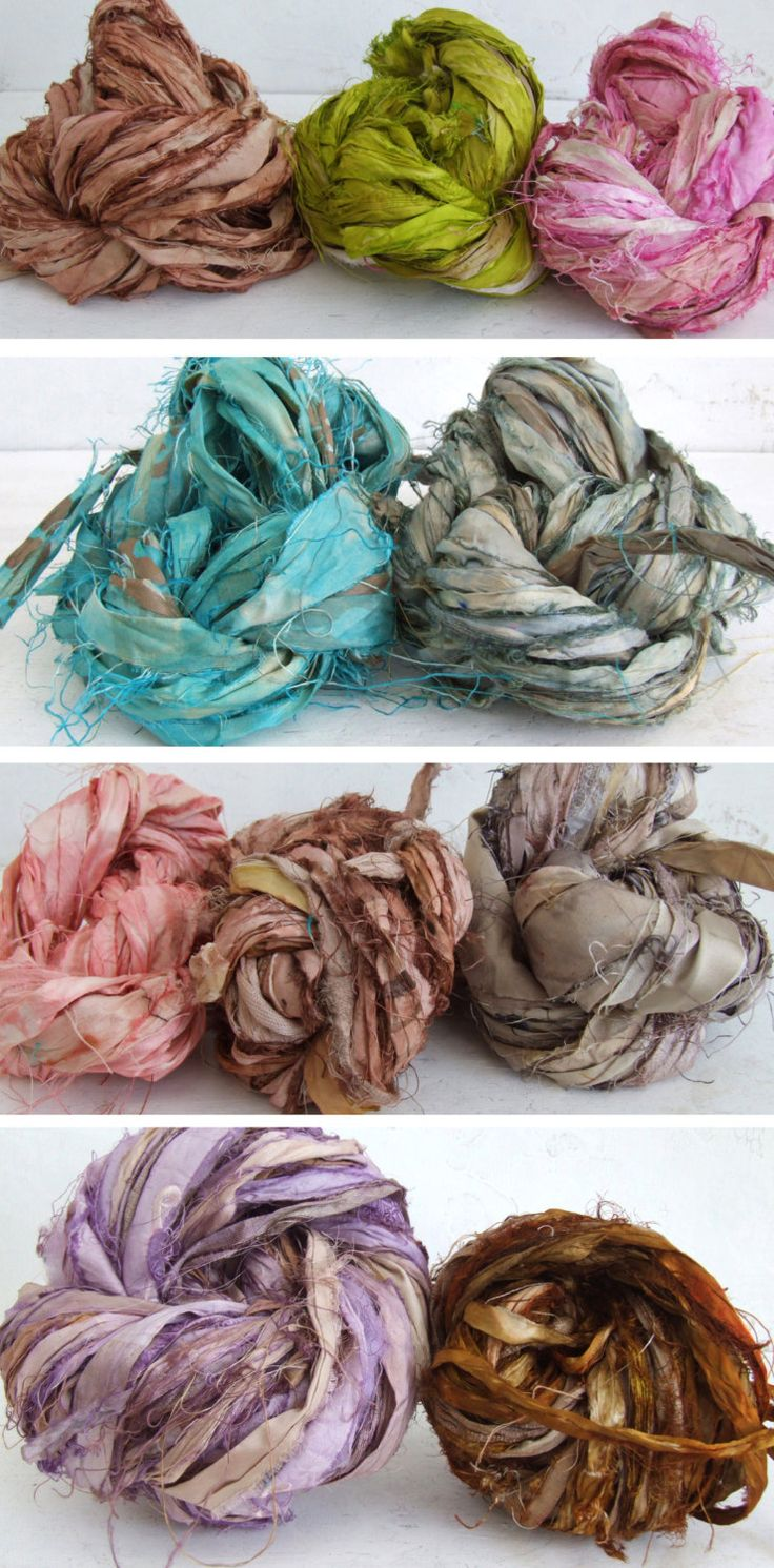 Hand Dyed Recycled Sari Silk Ribbon, 10 yds. $6.50, via Etsy.