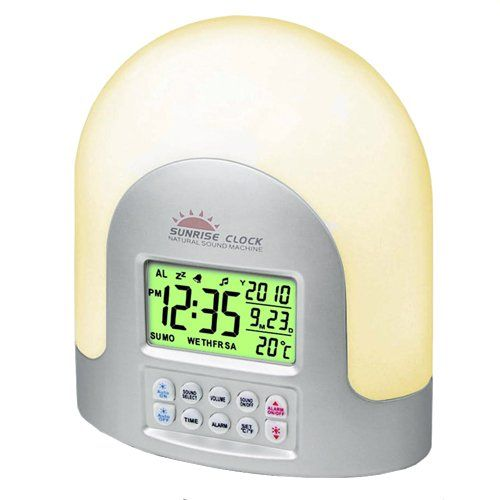 New Led Sunrise Wake Up Light Digital Alarm Desk Clock Nature Natural Sounds