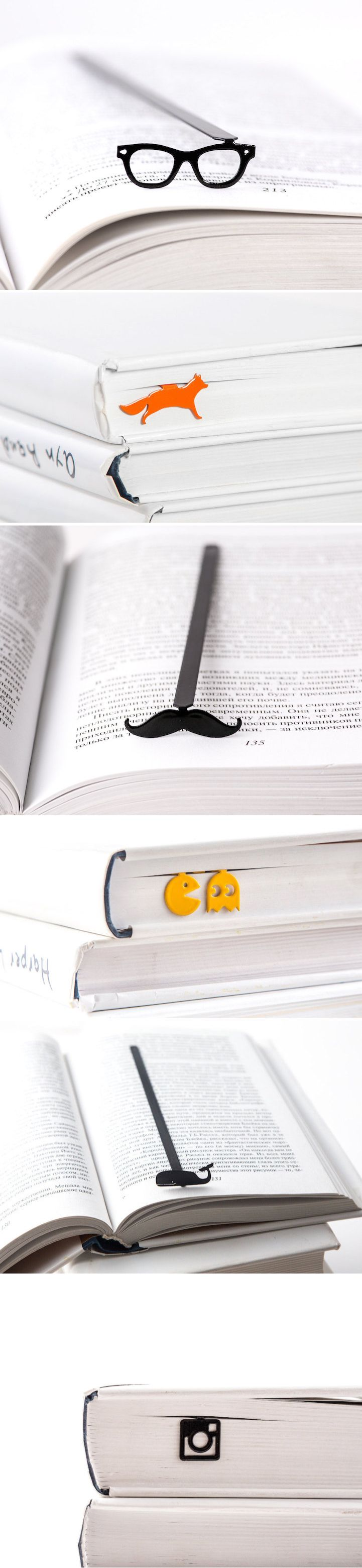 These fun bookmarks are quirky placeholders that won't stick out of the tops of books.