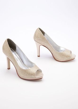"""These glitter mesh high heel pumps are sure to make you sparkle and shine! High Heel peep toe pumps feature glitter mesh material that is both stylish and classy. Heel Height: 3 1/2"""". Platform Height: 1/2"""". Fully Lined. Imported."""