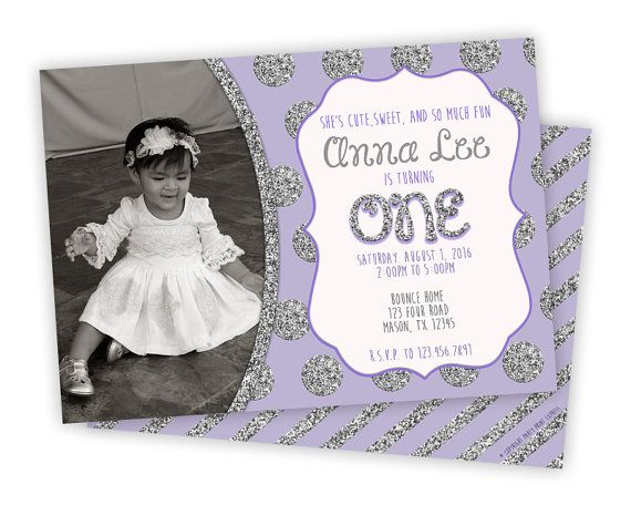 Best Childrens Birthday Invitations Images On Pinterest - 1st birthday invitations girl purple