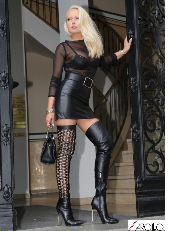 Lady Vanessa in her self designed AROLLO Boots Lady ...