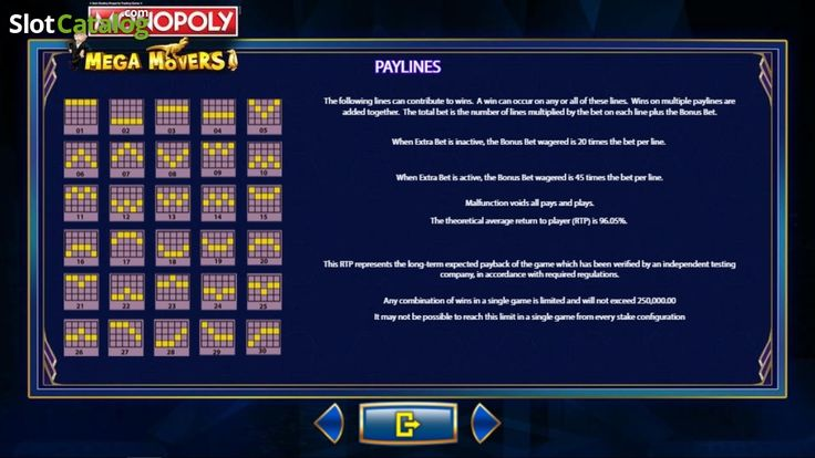 Paytable 7. Monopoly Mega Movers (Video Slot from SG)