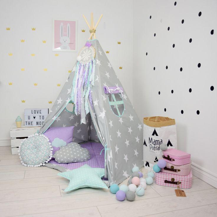 Teepee Set Kids Play Tent Tipi Kid Play Teepee Child Teepee Wigwam Zelt Tente Grey Stars  sc 1 st  Pinterest & 80 best Teepees images on Pinterest | Teepees Teepee play tent ...