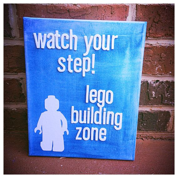 Lego man on 8 x 10 canvas by shopsignlanguage on Etsy, $14.00