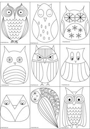 #knutselen, kinderen, basisschool, kleurplaat, uil, seizoenen, herfst, scroll naar beneden voor templates, #craft, felt, fabric, owl, scroll down for owl templates