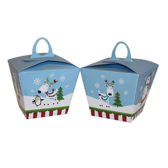 """<p><span style=""""font-size: small;"""">Present your Christmas cupcakes or homemade treats in these joyful snowman design treat boxes!</span></p>"""