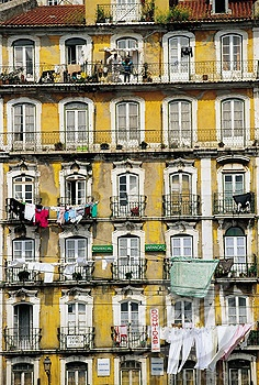 Building front at the Alfama, Moorish quarter (Old town). Lisbon. Portugal