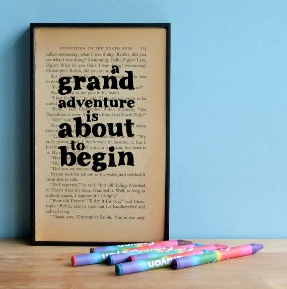 How cute would this be for a baby's room? Winnie the Pooh framed book art A Grand Adventure is about to begin