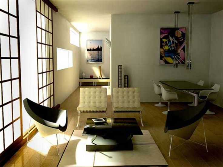 Interior Reasons Why Japanese Interior Design is Popular: Attractive Living Room Japanese Design Along With Modern Arm Chair Also Coffee Table And Slide Door And White Chair And Laminated Flooring And Dining Table And Chair Also Picture Frame Decor