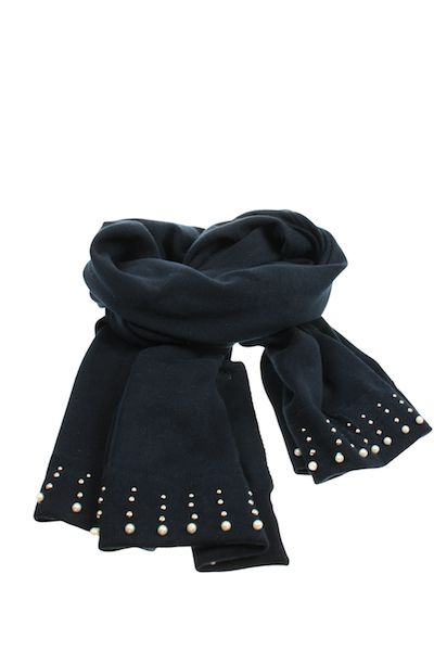 Nordic Navy Cotton Scarf With Pearl Detailing - White Apple Gifts