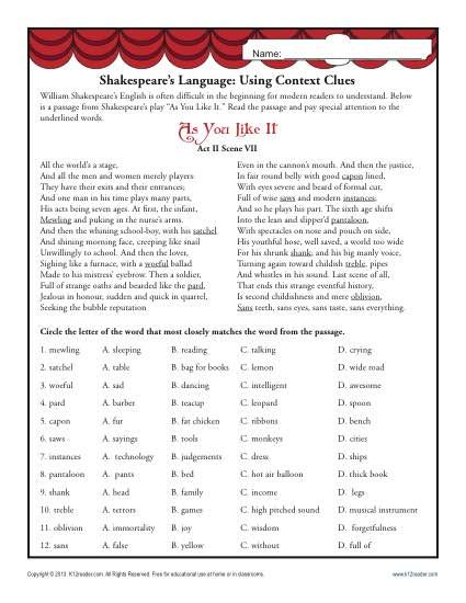 """Shakespeare's Language - Middle School Context Clues Worksheet. William Shakespeare was a great writer, but his vocabulary can be daunting to modern students. This worksheet, using a passage from """"As You Like It,"""" gives your student practice at working out meanings based on context."""