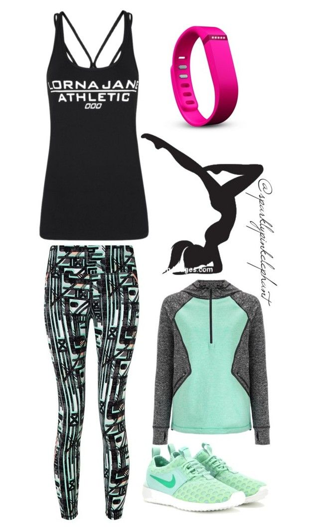 """""""Lorna Jane Yoga"""" by sparklypinkelephant ❤ liked on Polyvore featuring Lorna Jane, Sweaty Betty, Fitbit, NIKE, women's clothing, women, female, woman, misses and juniors"""