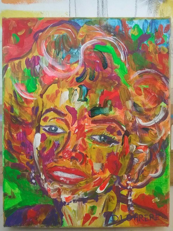 "Marylyn Monroe, acrylic on stretched canvas 8"" x 10"""