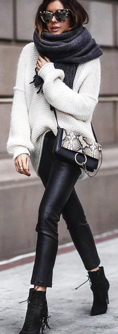 #winter #fashion /  White Knit + Dark Scarf + Leather Leggings + Black Fringe Booties