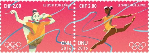 CHF 2.00 Rhythmic Gymnastics  UNPA issued a set of stamps to promote the contribution of sport to peace.  The stamps are issued ahead of the start of the Olympic Truce period for 2016 Summer Olympic and Paralympic Games in Rio de Janeiro, Brazil.