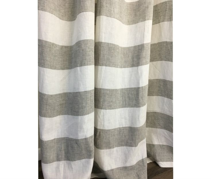 Grey And White Wide Striped Curtains Decorate Your Bathroom With This Attractive Linen Shower Curtain Featuring Classic 35 Cabana Stripes In Neutral