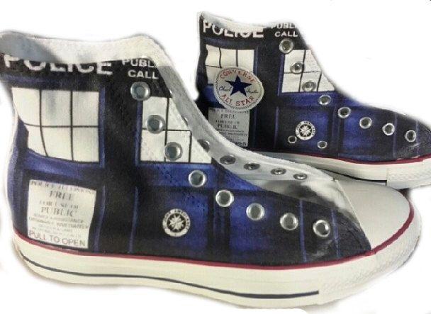 TARDIS Doctor Who Custom Converse All Stars by ArkhamPrints on Etsy https://www.etsy.com/listing/175247854/tardis-doctor-who-custom-converse-all
