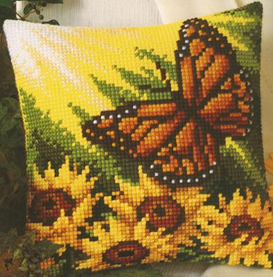 Autumn Butterfly Cross Stitch Cushion Kit By Vervaco