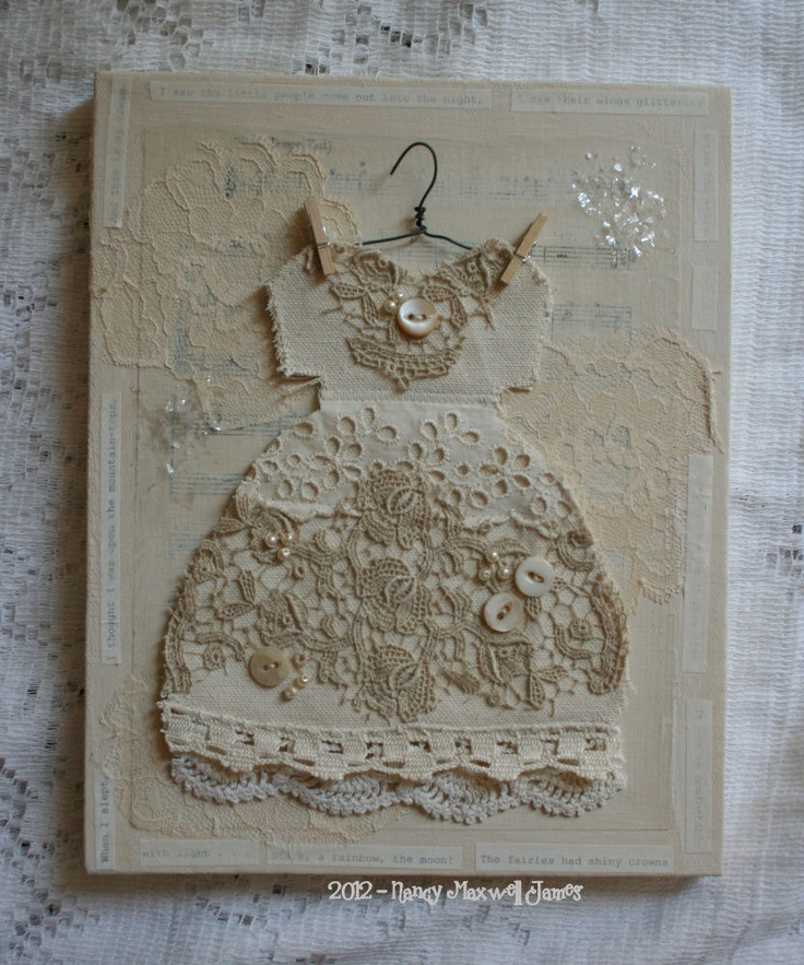 Shiny Crowns Altered Collage Canvas 8 x 10 inches with vintage embellishments. $23.95, via Etsy.