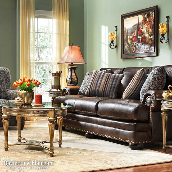 Keep your living room faithfully classic with a new sofa collection like this. We went with a European feel with green paint, gold curtains and metallic accent tables.