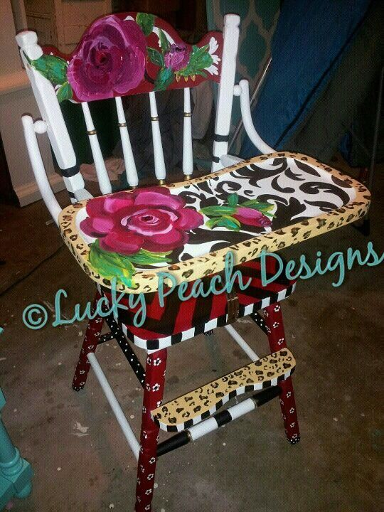 Painted high chair! Just in time for a first birthday