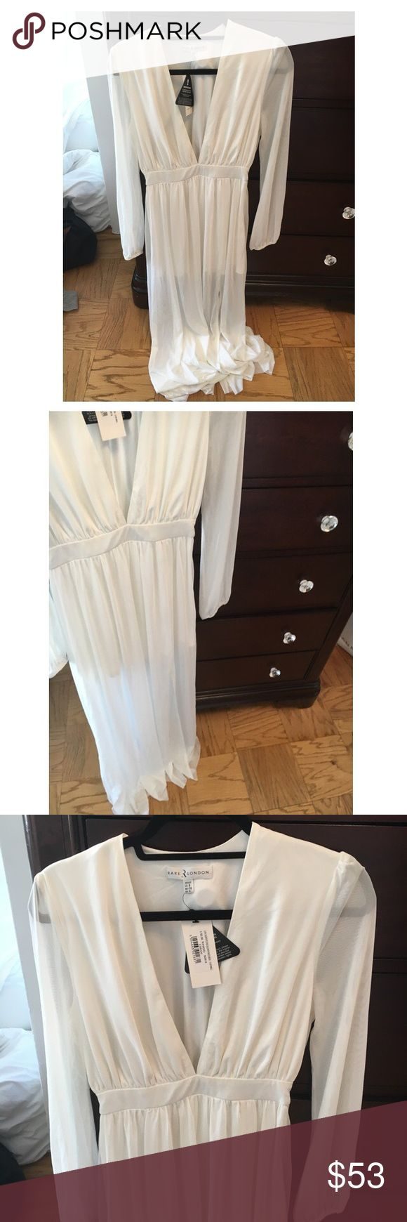 Rare London Cream Maxi Dress - [NWT] [NWT] Cream maxi dress. Material feels like a netting. Skirt lining but the rest of the leg is see through. Very sexy yet classy. Size small / UK 8. Feel free to ask any questions! Rare London Dresses Maxi
