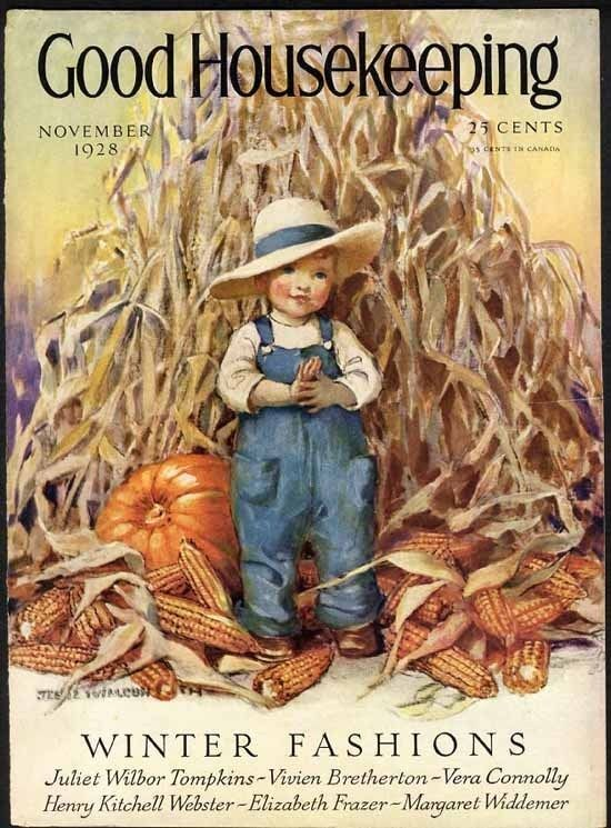 Thanksgiving COVER ONLY by JESSIE WILLCOX SMITH - Boy & Corn & Pumpkins