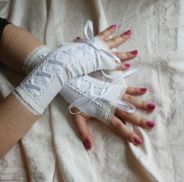 White laced up wedding armwarmers fingerless gloves by AlicesLittleRabbit on Etsy