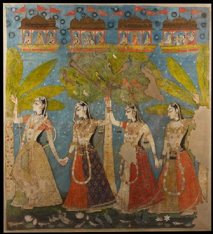Style: Rajasthani; Type: Portraiture, court life, and mythological scenes - Royal portraits; Title: 'The gopis dance in the forest, or Sarat Purnima', Kishangarh, 1720-1725