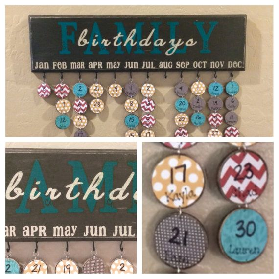 Family Birthday Board - Birthday Calendar - Mother's Day gift - Special Dates - Family Celebrations - Tags for birthdays