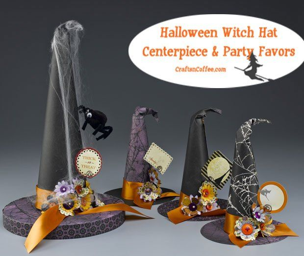 Fun Halloween Party Decorations: DIY Witch Hat Centerpiece and Halloween Witch Hat Party Favors.