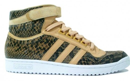 Adidas Concord Hi featuring a mixture of tan, white, and snakeskin pattern.