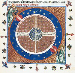 XIV Century ornate manuscript illumination showing celestial spheres, with angels turning cranks at the axis of the starry sphere.