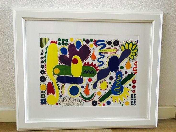 Summer garden...kleurrijke art print van originele illustratie, gouache schilderij, poster door CreaSpace op Etsy https://www.etsy.com/nl/listing/515107677/summer-gardenkleurrijke-art-print-van