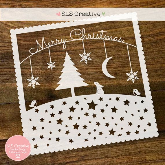 Christmas Woodland Papercut Template / Paper Cut Template Merry Christmas. SLS Creative.