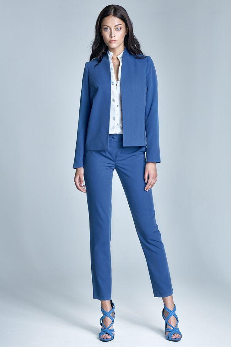 Nife Pantaloni eleganti cu catarama SD23, albastru