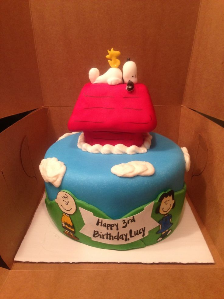 Charlie Brown, Lucy, Snoopy, Woodstock, and Dog House Peanuts Themed Birthday Cake www.PolkaDotApron.com
