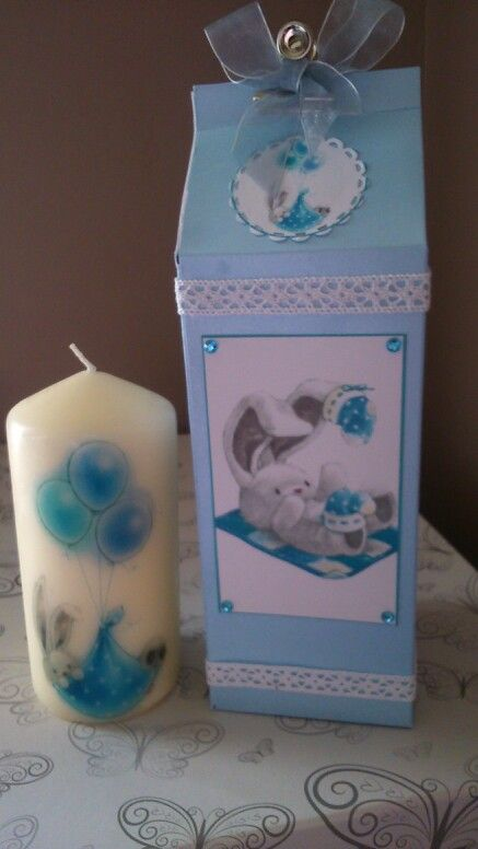 New baby decorated candle with bebunni baby image and milk carton gift box made using craters companion sweet treats board