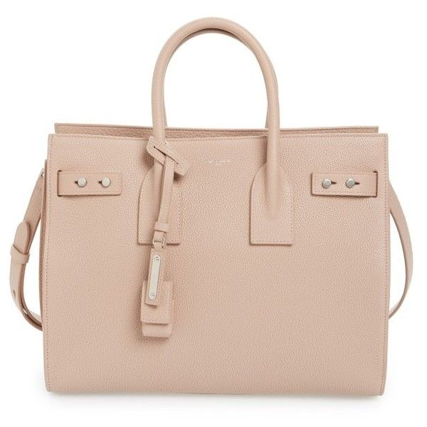 Women's Saint Laurent Small Sac De Jour Tote (9.435 BRL) ❤ liked on Polyvore featuring bags, handbags, tote bags, tote handbags, structured tote, handbags totes, pink purse and shopper tote