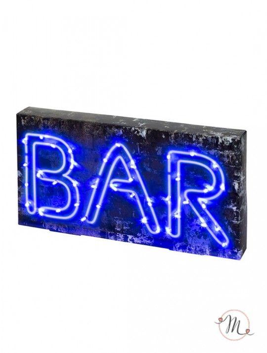 Insegna luminosa bar. Per decorare la location della vostra festa, può essere collocata sui tavoli.  E' dotata di 40 luci a led.  Misure: 40 x 21 x 5 cm. In #promozione #matrimonio #weddingday #wedding #ricevimento #insegne #decorazioni #luci #banner #illuminatedsigns #decorations #lights #bar #decorazioniluminose #nozze