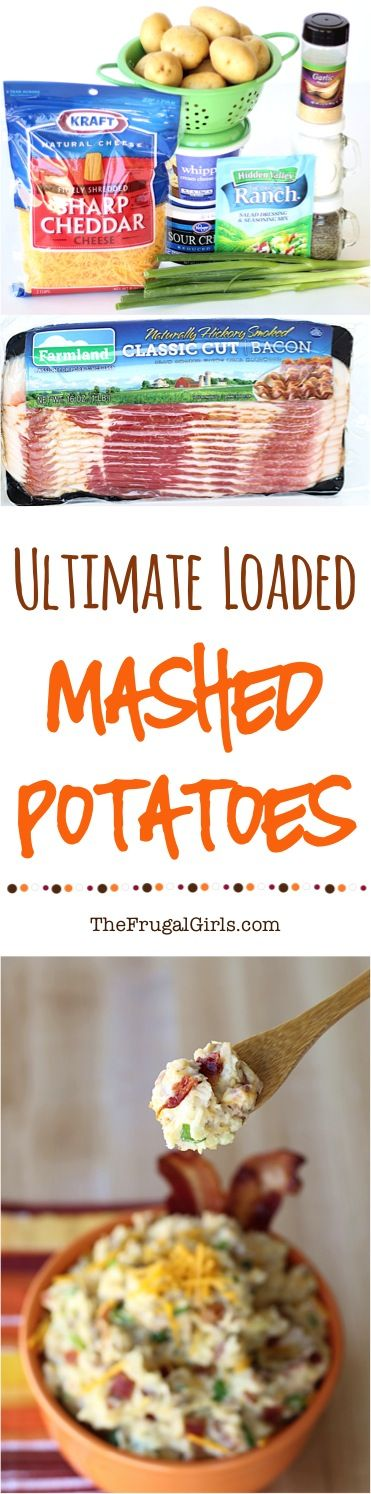 Loaded Mashed Potatoes Recipe! ~ from TheFrugalGirls.com - skip the plain old mashed potato recipe, and serve this upgraded loaded version with dinner and at the holidays! It's the BEST... your potatoes are about to become epic! #recipes #thefrugalgirls