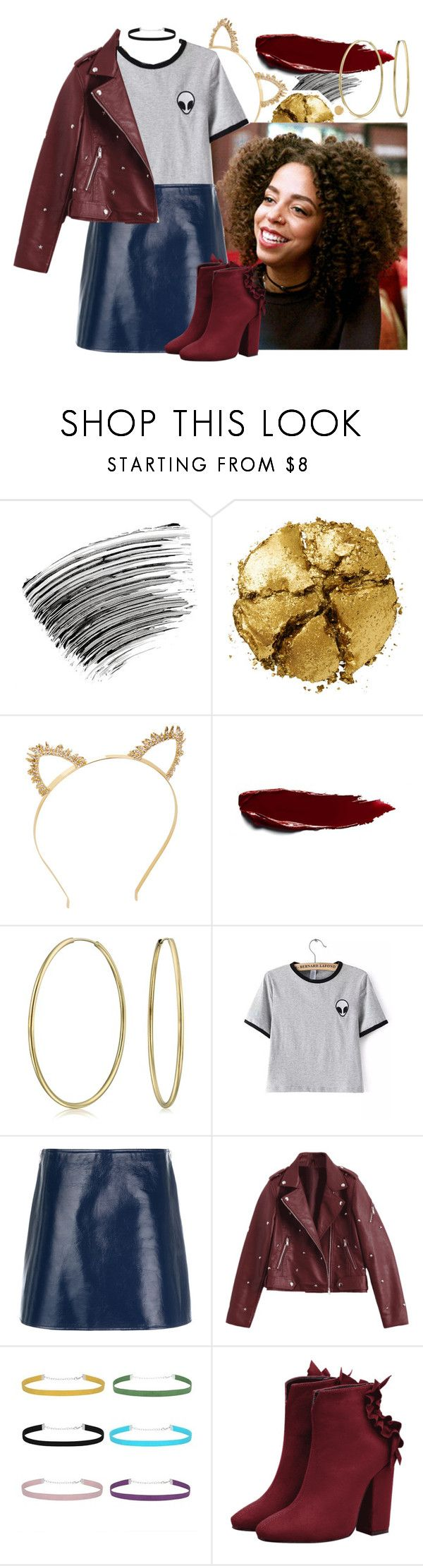 """val"" by calliebethd ❤ liked on Polyvore featuring Bobbi Brown Cosmetics, Pat McGrath, BCBGMAXAZRIA, Bling Jewelry, WithChic, Courrèges, Hot Topic, gold, riverdale and ValerieBrown"