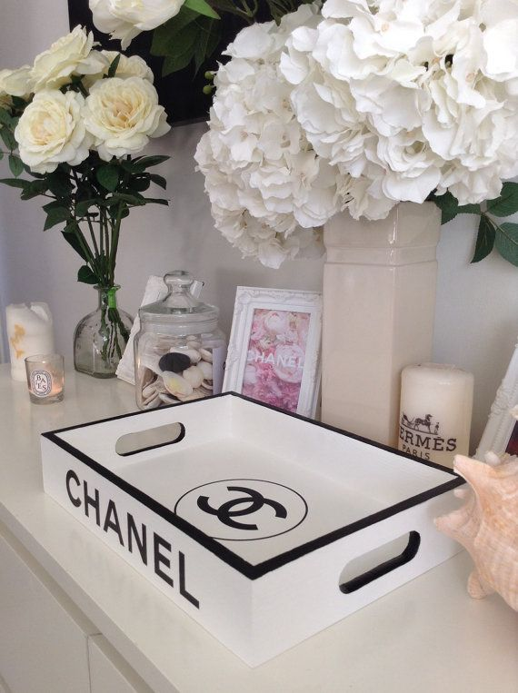 Made to order ~ Replica tray with Chanel branding. Bring a touch of luxury living to your home with this replica designer tray. 35cm x 25cm x