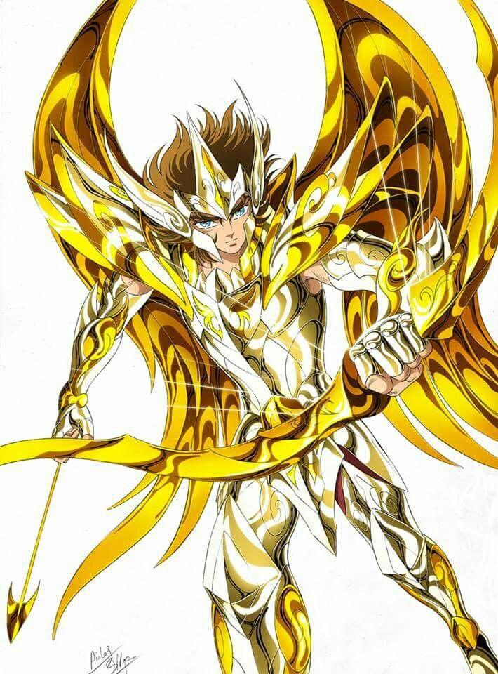 Gold Saint Sagittarius Aioros with Divine Cloth, Artwork by Spaceweaver. Saint Seiya Soul of Gold