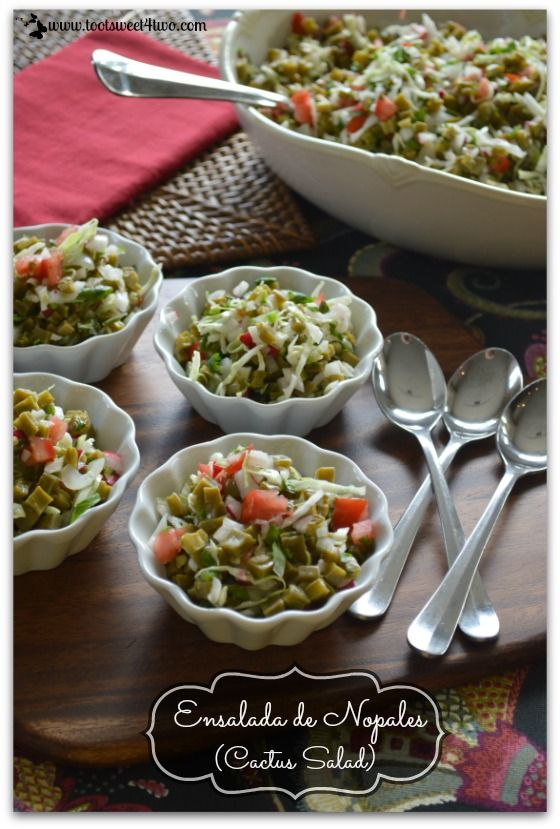 """Ensalada de Nopales (Cactus Salad) - deliciously crunchy with a slight tart twist, this salad is a """"keeper""""!  Get the recipe at www.tootsweet4two.com."""