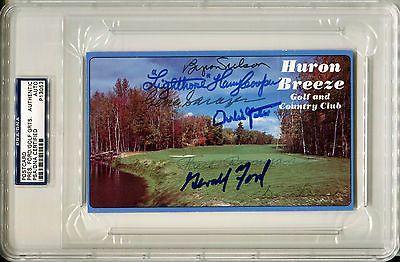 GERALD FORD BYRON NELSON SAM SNEAD GENE SARAZEN3 Signed Photo Scorecard PSA/DNA