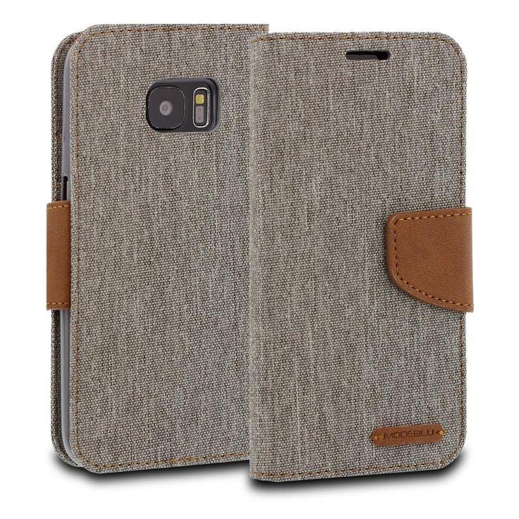 Galaxy S7 Edge Case Pocket Diary Canvas Wallet Cover - ModeBlu