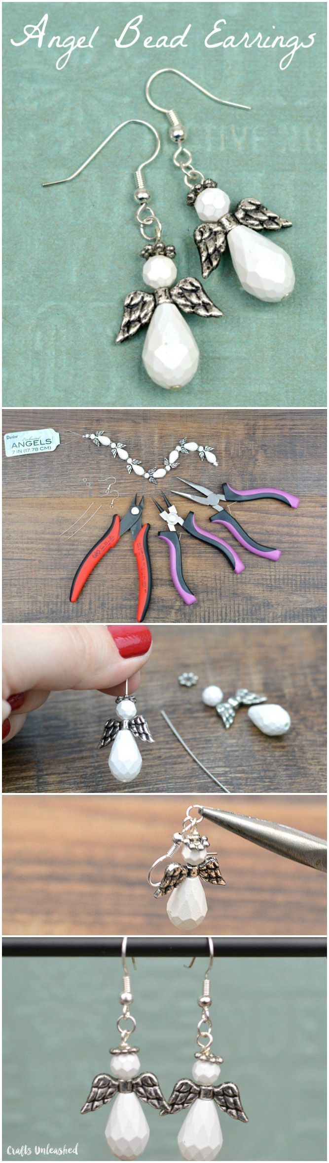 Learn how to make these angel DIY bead earrings with beginner jewelry making techniques. Elegant, handmade jewelry gifts are easier to make than you think.