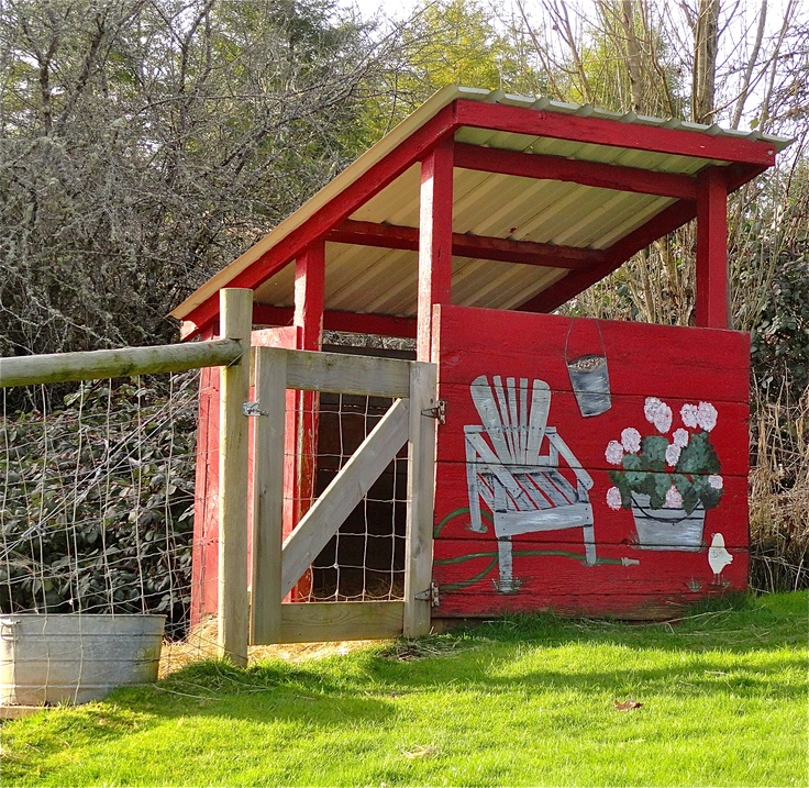 This was originally designed to be a goat barn. I just love the colors and designs on it. If you raise the walls on the house up and add a door so its fully enclosed (add an all-the-time entrance door or ramp for the chickens too) and then enclose the fenced in section it would be very usable as a chicken coop.